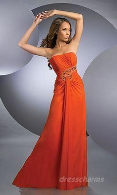 A-Line Satin Tube Long Dress Charm85544
