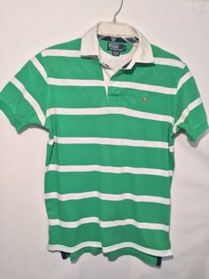 40a3f47fb16 Polo Ralph Lauren Mens Polo Rugby Shirt M Short Sleeve Green Striped EUC |  Clothing,