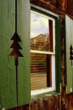 Mountain Reflection Twin Peaks Pine Green Window Old Colorado Inn Rustic Cabin Lodge Photograph