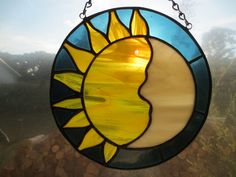 Sun and Moon Pagan Witchy Stained Glass Suncatcher by PerizadCreations on Etsy