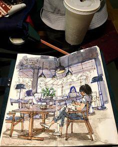 Café's sensation☕️ live sketch at The Jam Factory, Bangkok #lllouissketch…