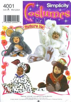 Simplicity Pattern 4856 Baby/Toddler Halloween Costumes Mouse, Puppy Dog/Dalmatian, Bunny & Monkey - Boys/Girls Sizes 4 UNCUT by GertAndElmer on Etsy Halloween Costume Sewing Patterns, Buy Halloween Costumes, Costume Patterns, Simplicity Sewing Patterns, Vintage Sewing Patterns, Monkey Girl, Thing 1, Toddler Costumes, Baby Costumes