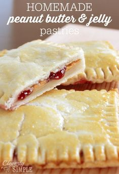 Here's how to make homemade pop tarts with peanut butter and jelly! Only four ingredients and you'll have this tasty pastry treat!  Seriously, this is so easy to make for a quick and homemade breakfast idea.