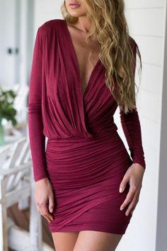 Wine Red Long Sleeve Bodycon Dress
