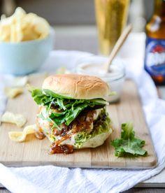 goat cheese guac burgers I howsweeteats.com