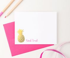 Pineapple Stationery in Faux Gold foil by ModernPinkPaper on Etsy