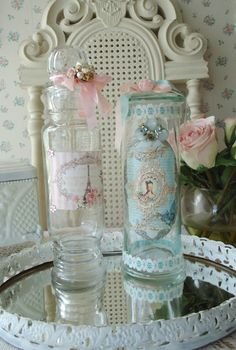 Shabby bottle and pink roses