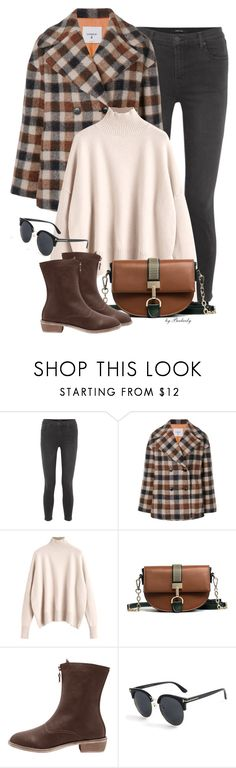"""Casual: Plaid Coat"" by beebeely-look ❤ liked on Polyvore featuring J Brand, Dondup, casual, streetwear, minibags, plaidcoats and gamiss"