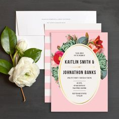 Floral Stripes Wedding Invitations by Day Dream Prints | Elli