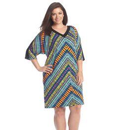 London Times® Plus Size Patterned Shift Dress
