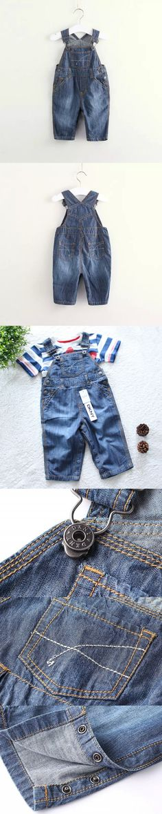 High Quality 2016 baby rompers Infant boys girls Jumpsuit jeans roupas de bebe Denim Overalls kids jeans Baby Clothing $15.58