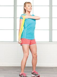 Cross-arm triceps push-downs: 2 minutes - 10-Minute Tuneups: The Mini-band Workout