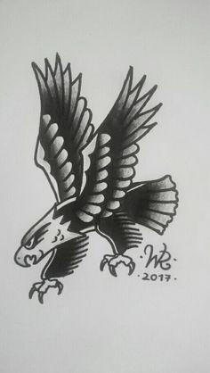 Traditional american eagle B&W -13 #handmade #eagle #traditional #american #oldschool #oldschooltattoo #traditional #traditionaltattoo