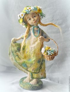 """Купить Войлочная кукла """"Полевые цветы"""" - зеленый, авторская кукла, валяние на каркасе, лето"""