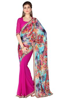 Buy Aqua and Magenta Faux Georgette Saree with Blouse online, work: Printed, color: Aqua Blue / Magenta, usage: Party, category: Sarees, fabric: Georgette, price: $43.17, item code: SNSA21, gender: women, brand: Utsav
