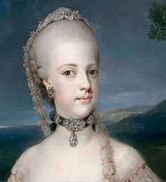 1768, Mengs, Queen Maria Carolina,Archduchess, Queen, Habsburg family, Bourbon family, straight coiffure, jeweled headdress, off shoulder scoop neckline, modesty piece-bertha, lace, back-forward flared engageantes, jeweled neck band, earrings