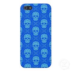 Blue Sugar Skull Pattern iPhone 5 Cover