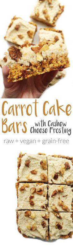 Raw Carrot Cake Bars & Cashew Cream Frosting