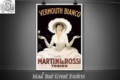 Vermouth Bianco - Martini & Rossi - Torino - Marcello Dudovich - 1900, vintage, poster, gift, food and drink, wall art, Italian, travel, ink by MadButGreatPosters on Etsy Martini Rossi, Vintage Posters, Drink, Wall Art, Gifts, Travel, Etsy, Food, Poster Vintage