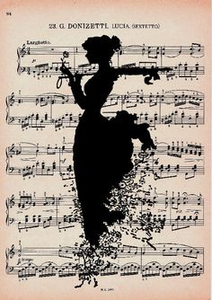 Vintage Sheet Music with Silhouette Background Music Drawings, Music Artwork, Art Music, Sheet Music Art, Vintage Sheet Music, Book Page Art, Book Art, World Music Day, Musik Illustration