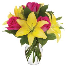 """Summer Bouquet"" Brighten her day with a gorgeous array of lilies and roses in a bright bud vase. This beautiful display of flowers is arranged by a local florist and delivered in a hot pink vase to brighten anyone's day. Available for delivery today. Spring Bouquet, Spring Flowers, Flowers Garden, Contemporary Flower Arrangements, Floral Arrangements, Lily Bouquet, Bouquet Flowers, Hot Pink Roses, Flowers For You"