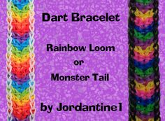 New Dart Bracelet - Rainbow Loom or Monster Tail tutorial by Jordantine1.