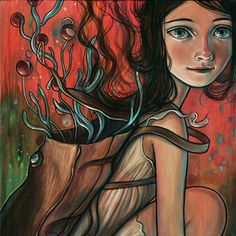 """Kelly Vivanco, """"Knapsack."""" I love her rosy cheeks, her gaze, her half-smile, her backpack full of wonderful things. I want to hang this on my daughter's wall. (http://kellyvivanco.bigcartel.com/product/knapsack-limited-edition-print)"""