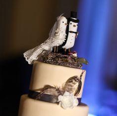 Bird Cake Topper Vintage Style Wedding Fabric  Creations A cakepins.com