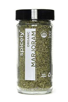 Spicely Organic Marjoram Whole  Glass Jar  Gluten Free  Non Gmo  Vegan  Kosher -- ** AMAZON BEST BUY **