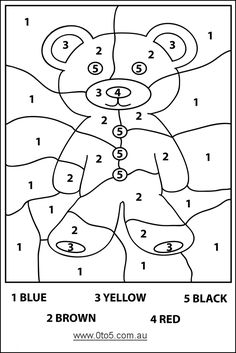 0to5.com.au - Teddybear - colour by number (easy) template suitable for young children