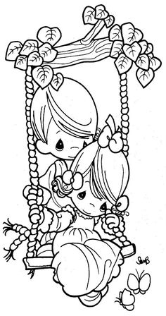 Couple in a swing - precious moments coloring pages | Coloring Pages