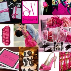 Pink and black wedding ideas.