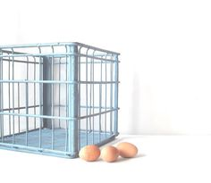 Vintage Metal Wire Milk Crate Robins Egg Blue Cottage by FlyingAce, $48.00