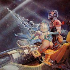 Fantasy Art Warrior, Sci Fi Fantasy, Science Fiction Art, Pulp Fiction, Sci Fi Comics, Aliens And Ufos, Alien Art, Pinup Art, Fantasy Inspiration