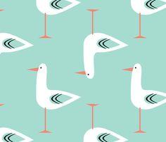 Marushka Screen Printed Fabric Wall Art Seagulls by aleshagrace ...