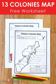 This FREE 13 Colonies map worksheet makes a fun addition to any 13 Colonies history projects, activities, or lessons! Download it now and help your kids fall in love with history! #Interactive #CivilWar #History