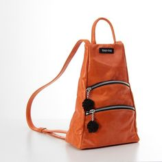 Leather Backpack Purse Orange Leather Rucksack Women Small Backpack Leather Backpack Purse, Leather Crossbody Bag, Leather Purses, Leather Bags, Brown Leather Totes, Orange Leather, Small Backpack, Mini Backpack, My Bags