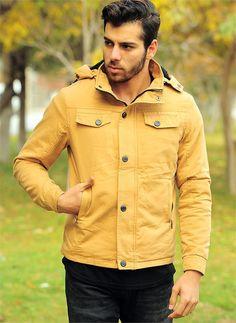 Erkek Kapşonlu Kürklü Mont Hardal| Modelleri ve Uygun Fiyat Avantajıyla | Modabenle