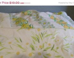 Vtg Double Sheet Set, 1 Bottom Fitted Sheet, Pair of Pillowcases, 1970s, Yellows, Orange, Lime Green Floral