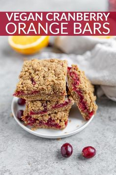 Fresh Cranberry Oat Bars! These vegan and gluten-free cranberry orange bars are the perfect balance of tart and sweet. An easy and sweet dessert or snack for Thanksgiving, Christmas and the holidays.