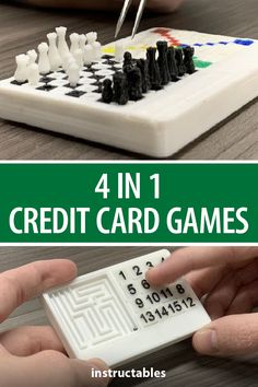 This small 3D printed credit card-sized game board has 4 games in one: Chess, Ludo, Slide Puzzle, and Maze. #Instructables #3Dprint #toy #Fusion360 #portable Fusion 360, Arduino Projects, Card Sizes, Chess, Maze, Gabriel, 3d Printer, Board Games, Puzzle