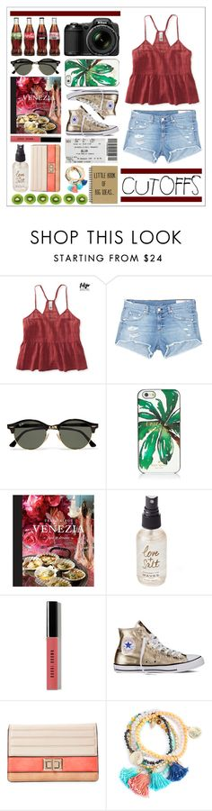 """""""meet me somewhere"""" by m-huber ❤ liked on Polyvore featuring Aéropostale, rag & bone/JEAN, Ray-Ban, Kate Spade, Ballard Designs, Olivine, Bobbi Brown Cosmetics, Converse, Melie Bianco and jeanshorts"""