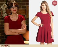 Zooey Deschanel's Red short sleeved dress on New Girl. Outfit Details: http://wwzdw.com/z/4740