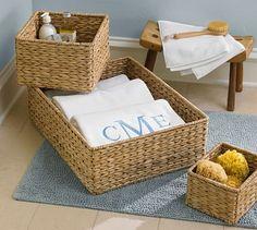 "Newport Baskets #potterybarn (Sundry Cabinet Storage: 12"" square, 8"" high)"