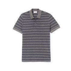 3ecb346f4323a Lacoste Men s Regular Fit Striped Cotton Petit Piqué Polo - Stone  Chine Meridian Blue 3Xl