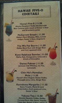 Yum! Hawaii 5-0 adult beverages!