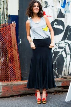 Long skirt, cute tank.  No Man Repelling Here! Check Out Leandra Medine's New Clothing Collab