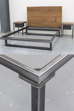 Blacksmith Bed - chunky and stylish industrial design, made from oak and steel