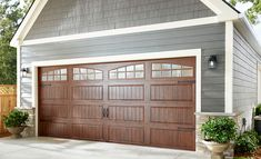 Update your doors and windows for a new look and increased home security. Custom windows and doors sizes, no problem. Garage Door Trim, Double Garage Door, Garage Door Paint, Garage Door Windows, Wooden Garage Doors, Garage Door Makeover, House Windows, Windows And Doors, Home Depot