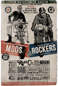 Mods vs. Rockers. Right On Time Design (via racecafe)
